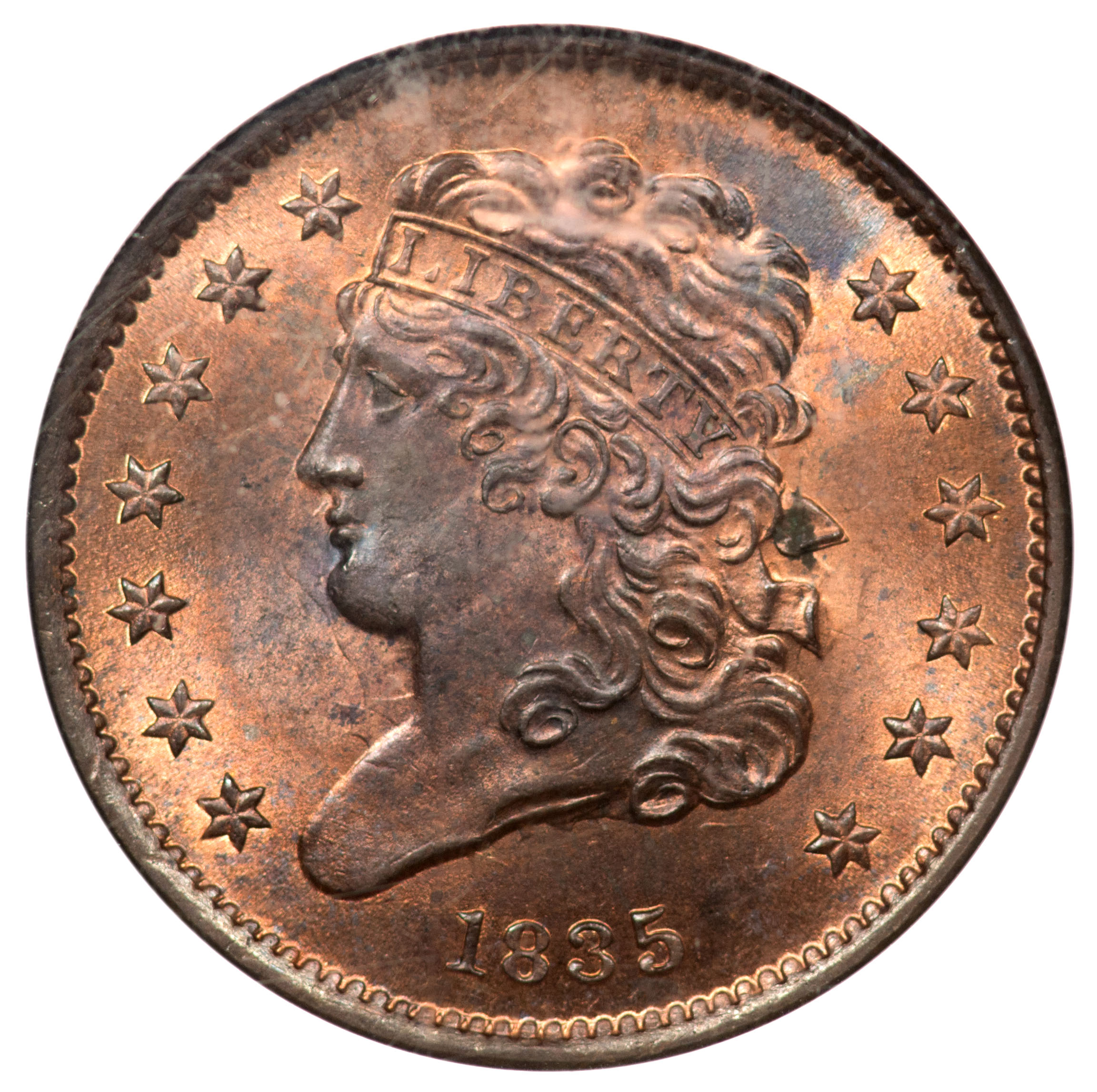 1835 Ngc Ms64 Rb Cac Half Cent
